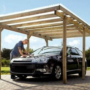 HIGH QUALITY! Wooden pergola canopy car port + roof FREE delivery 5x3 one size
