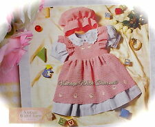 Vintage Crochet Pattern For Baby Girls Pinafore Dress & Mop Cap. 3 Sizes