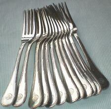 """12 fourchettes à poisson Chrisotel modèle """"rubans"""" métal argenté CARLTON CANNES"""