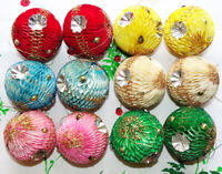 Vintage Japan Honeycomb Paper Christmas Tree Ornaments Box of 12 with Indent