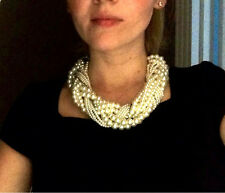 Women Multi Layer String Twist Faux Pearl Chunky Choker Bib Statement Necklaces