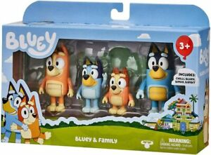 BLUEY'S FAMILY AND FRIENDS PACK FIGURES CHILLY BINGO SNICKERS COCO RUSTY DOG