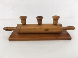 Vtg Hand Made Wood Colonial Art Rolling Pin 3 Candle Stick Holders