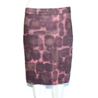 J. CREW STRAIGHT PENCIL SKIRT Linen Plum Purple Watercolor Print size 4