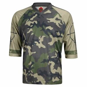 Outlaw Green Camo Men's Mountain Bike Jersey 3/4 length sleeve loose fit casual