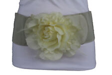 Women Fashion Elastic Cream Off White Stretch Belt Flower Feathers Buckle M L XL