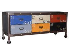 Cassettone TV Stile Industriale Loft Vintage Retro Camera Adolescente Rotelle