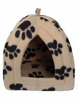 IGLOO PET BED FLEECE SMALL DOG PUPPY POLAR RABBIT CAT PYRAMID HUT KENNEL TRAVEL
