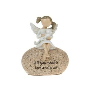 Angel Sentiment Stone ALL YOU NEED IS LOVE AND A CAT Pebble Ornament Gift