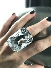 Gigantic Brilliant Swarovski Clear 82.20CT Crystal Huge Sparkly 925 Silver Ring