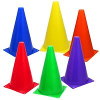 """6 Assorted Color 9"""" Cones Train Like a Champion Soccer Football Agility Traffic"""