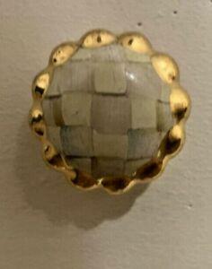 MacKenzie-Childs Round Parchment Check gold Trimmed Pull Knob 3-3/4 Mini Petite