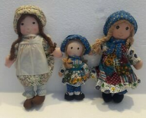 "3 Vintage 1970's Knickerbocker ORIGINAL Holly Hobbie 7"" - 9"" Classic Plush Dolls"