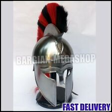 MEDIEVAL GREEK CORINTHIAN HELMET RED BLACK PLUME SPARTAN ARMOR WITH WOODEN STAND
