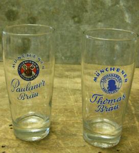 Thomasbräu Paulaner Bräu München 2 alte Biergläser Münchener Gläser 0,25L