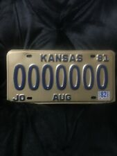 1981 w/ 82 sticker Kansas License Plate #0000000