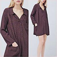 Purple Polka Dot Shirt Blouse Flowy Mango Dress Size 8 10 US 4 6 Zara Blogger ❤