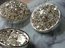 10 Pieces Round Clear Rhinestone Metal Buttons  20 mm Bridal Embellishment DIY