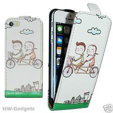 Stylish Leather Thin Flip Case Cover for Apple iPhone 4 4S 5 5S 5C - BICYCLE
