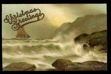 Wild Waves artist drawn M Morris Tuck 2587 Vintage PPC + Xmas Greetings