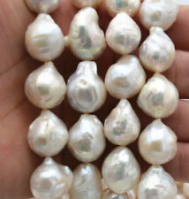 New Real 15x19mm Natural South Baroque White Akoya Pearl  loose beads 15 ''