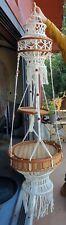 Vintage Macrame 60/70s Hanging Planter Wicker Floating Table Hippie, Boho