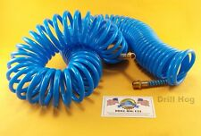 "Drill Hog USA 1/4""x50' Recoil Air Hose Poly AirHose Flexible Lifetime Warranty"