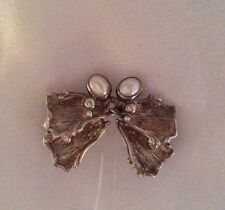 Vintage Native American Sterling Silver Butterfly Wing Earrings With Pearls