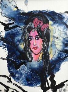 Jurgen Grafe 2018 hand signed original work 'Amy Winehouse' - Acryl on carton