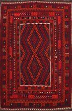 South-western Geometric Reversible Large Kilim Afghan Area Rug Flat-Weave 9'x11'