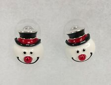 Nature's Jewelry Handcrafted Enameled Silverplate Snowman Earrings