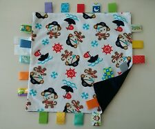 """Taggies Pirate Monkey Baby Blanket Security Ship Wheel Ribbons Navy Blue 12x12"""""""