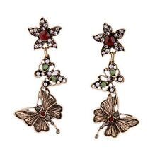 Vintage retro style daisy flower and butterfly chandelier earrings