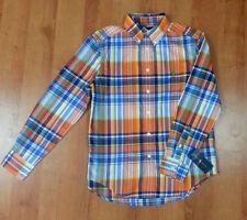 Boys POLO RALPH LAUREN Button Down Long Sleeve Plaid Shirt Orange Blue NWT 10/12