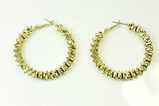 LADIES RETRO MECHANICAL THEME HOOP EARRINGS STATEMENT BOLD VIBRANT (CL10)