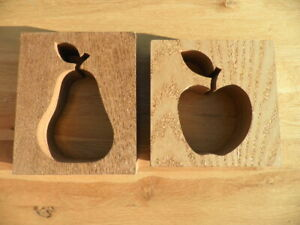 Apple / Pear Cut-out book ends / ornaments 16cm square - wood
