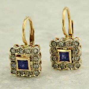 14k Yellow GOLD Natural Blue SAPPHIRE and DIAMOND Dangle Antique Style Earrings