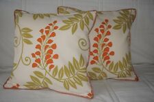 2 MONTGOMERY Cushions 40x40cm with Pad - Wisteria Flower in 06 Tangerine/Green