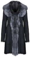 Black Ladies Women's Real Toscana Sheepskin Leather Suede Jacket Trench Coat