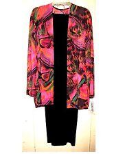 3Pc Amanda Bright Abstract Pink/Purple Print  Stretchy Slinky Pant Set  1X NWT