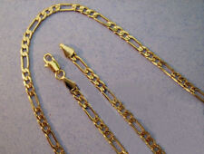 Gold Figaro Chain 20 inch 4mm 24k Gold Plated Necklace Chain Yellow Gold