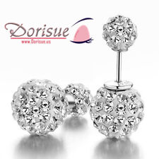 Mother's Day Present Round Ball Big Small Crystal Stud Streling Silver Earrings