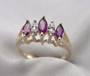 Vintage 14K Yellow GOLD 0.60tcw Marquise Natural RUBY Diamond RING 2.5g Size 6