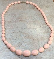 Vintage Pink Necklace Retro Gogo 1960s Style Plastic Graded Pale Bead Prom Party