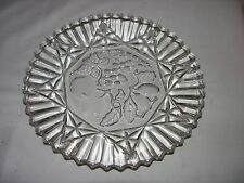 LARGE CLEAR GLASS SERVING PLATTER PLATE FRUIT CHERRIES GRAPES