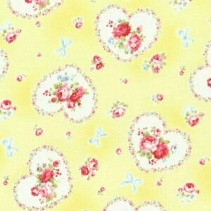 """23"""" Remnant Cottage Shabby Chic Lecien Princess Rose Hearts Fabric 31266-Yellow"""
