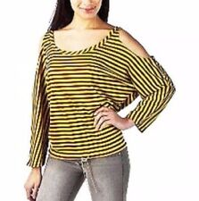 Jean Paul Gaultier for Target Cold Shoulder Striped Top Yellow Burgundy Size XS
