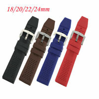 18/20/22/24mm Black/Brown/Red/Blue Silicone Rubber Watch Band Strap Replacement