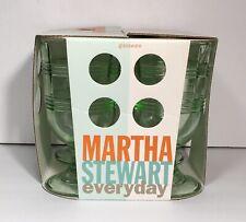 New listing 4 Vintage Martha Stewart Everyday Green Ribbon Drinking Glasses Goblets Set Nos