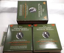 VINTAGE ANNOTATED SHERLOCK HOLMES BOX SET VOL 1 2 CONAN DOYLE GREEN HCDJ NOVELS